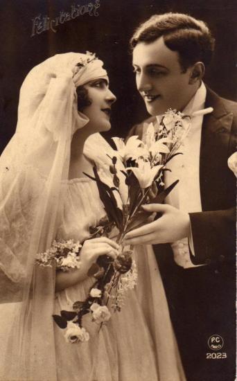 carte ancienne - félicitations  lors d'un mariage