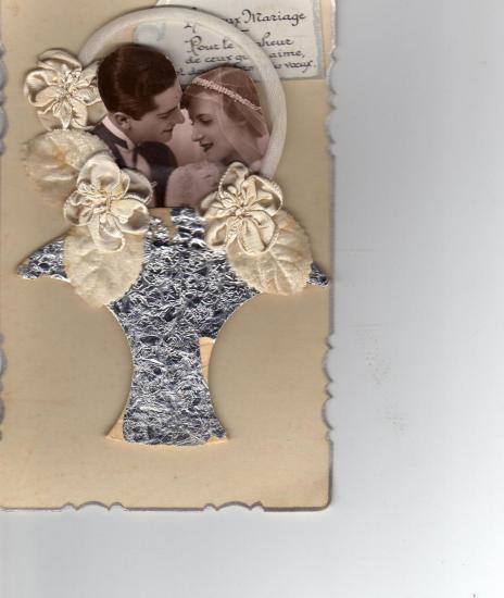 carte ancienne de félicitations à l'occasion d'un mariage